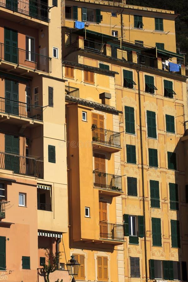 五颜六色的房子在卡莫利渔村,天堂海湾,菲诺港国立公园,赫诺瓦,利古里亚,意大利 免版税库存照片