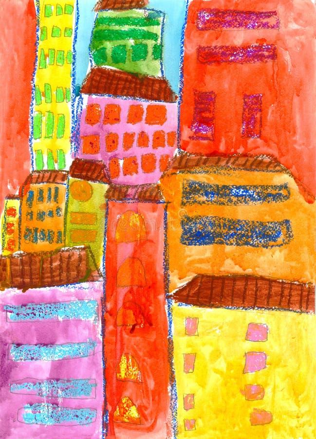 五颜六色的房子在城市,儿童的图画 图库摄影