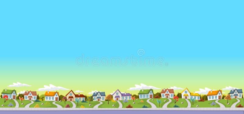 五颜六色的房子在郊区邻里 库存例证