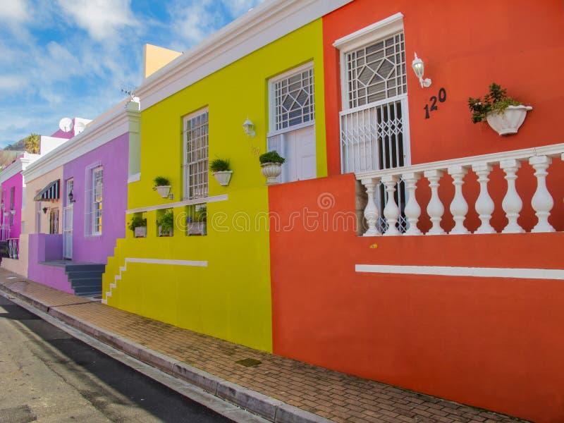 五颜六色的房子在Bo Kaap区,开普敦,南非 库存图片