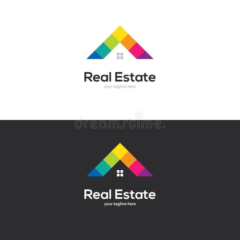 五颜六色的房子屋顶商标设计 皇族释放例证
