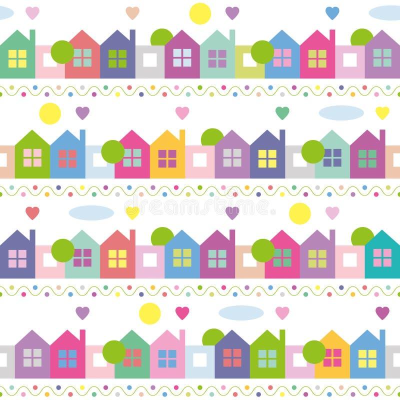 五颜六色的房子样式 向量例证