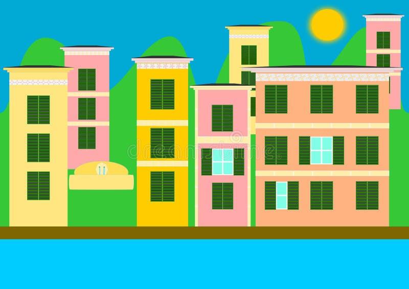 五颜六色的房子,利古里亚 皇族释放例证