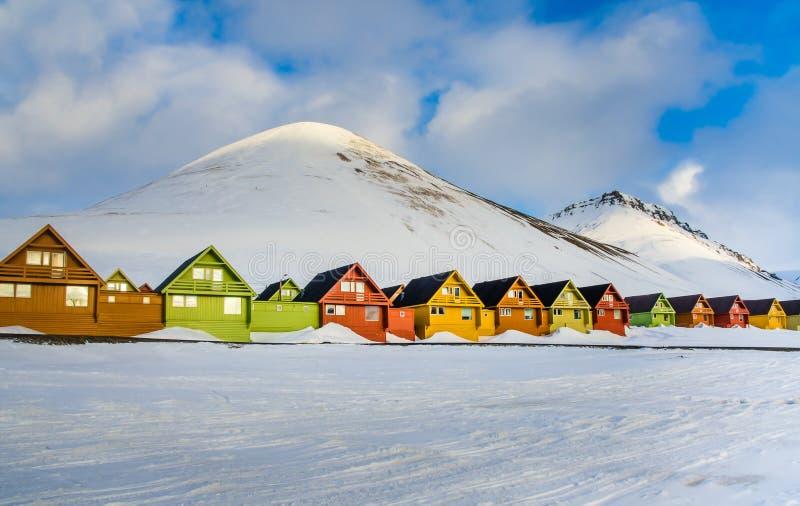 五颜六色的房子,朗伊尔城,卑尔根群岛,斯瓦尔巴特群岛,挪威 免版税库存图片