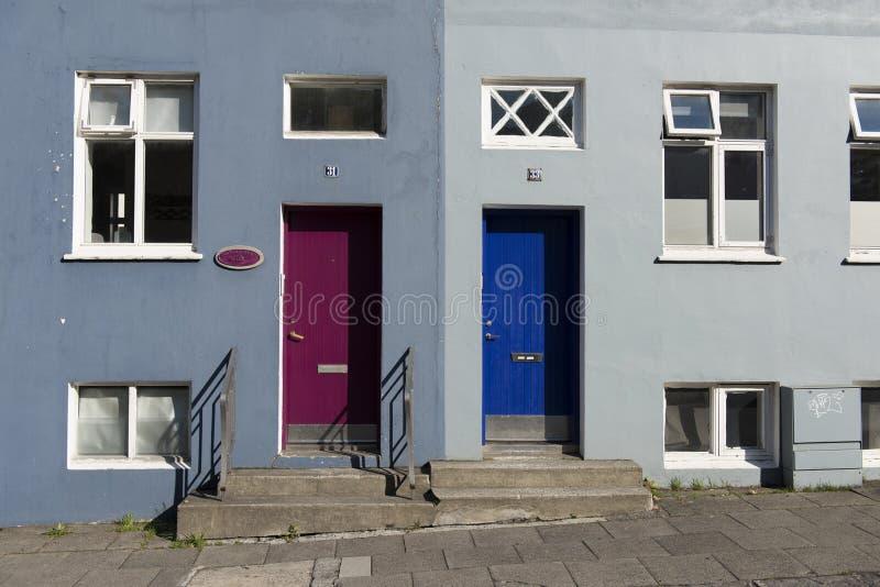 五颜六色的房子,雷克雅未克,冰岛 免版税库存照片