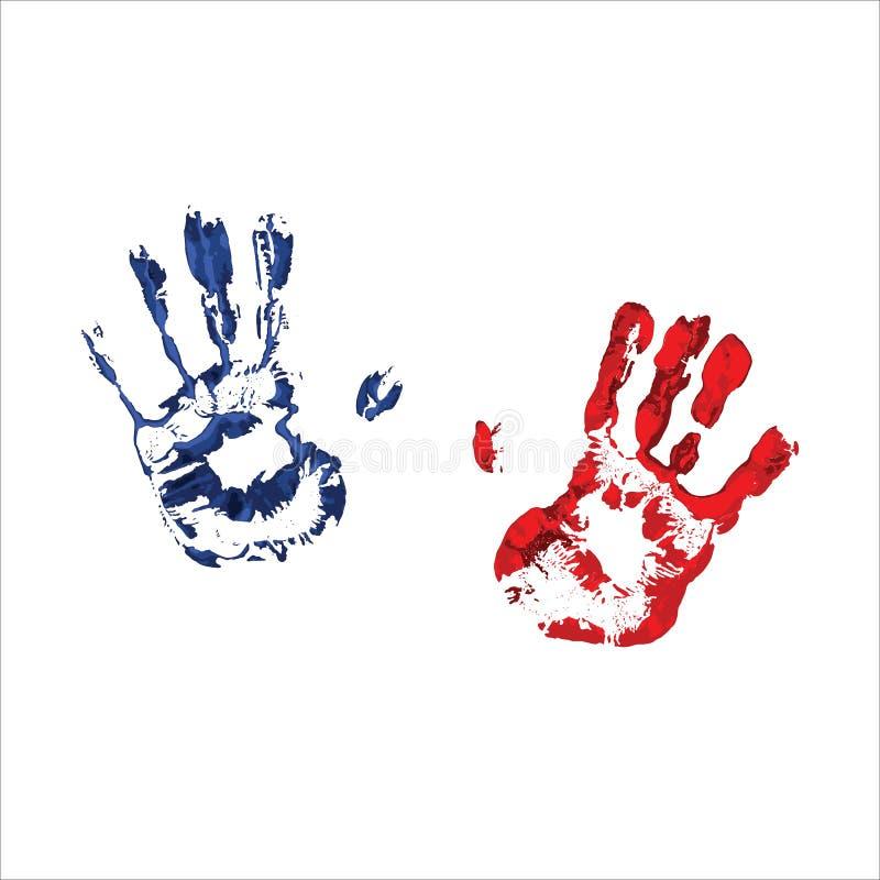 五颜六色的手印刷品 抽象vecror图象 皇族释放例证