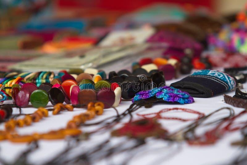 五颜六色的手工制造首饰, VILCABAMBA厄瓜多尔 库存图片