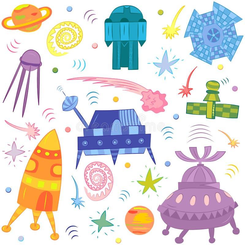 五颜六色的手拉的乱画太空飞船,火箭队,流星,行星 库存例证