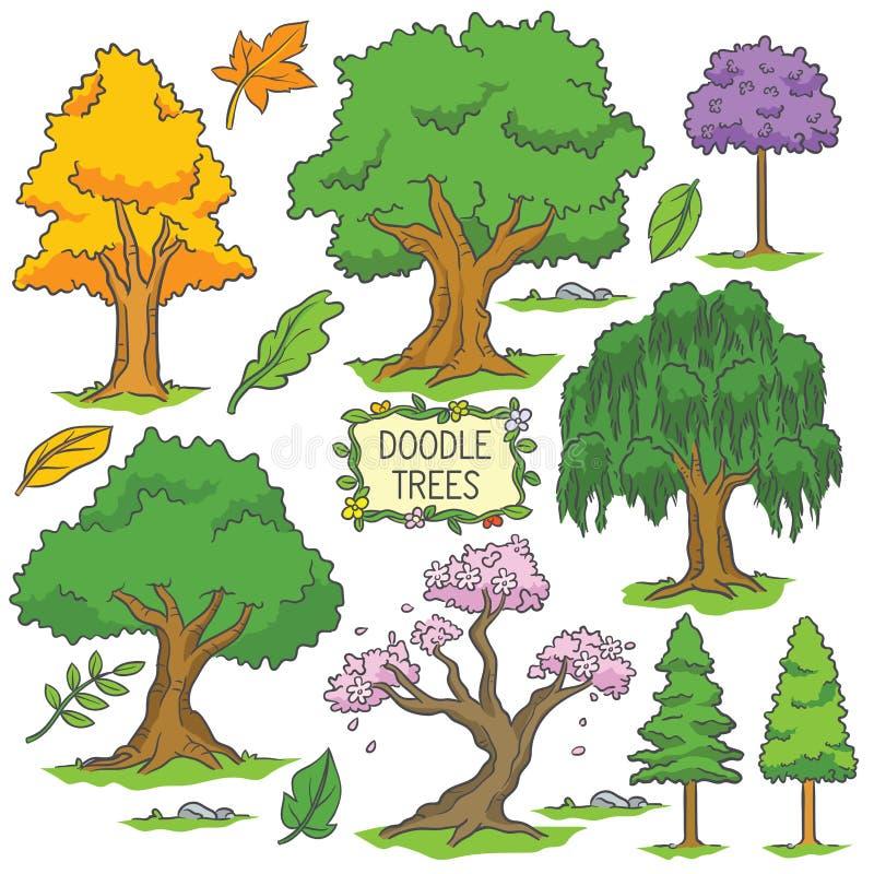 五颜六色的手拉的乱画树 向量例证