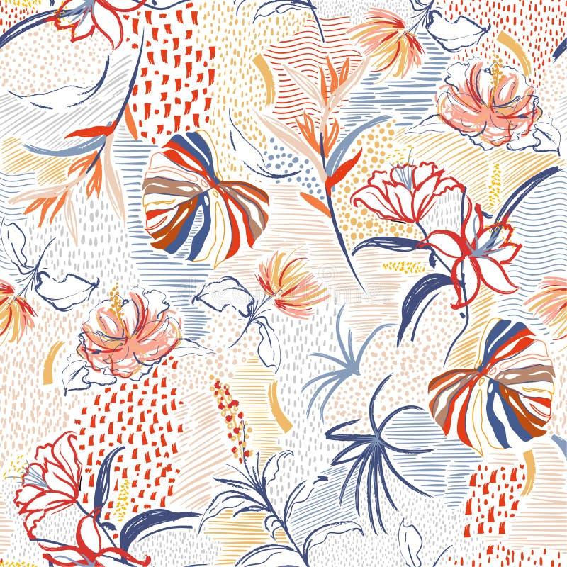 五颜六色的手拉的花,热带棕榈森林和开花花卉在线在传染媒介的剪影心情无缝的样式 库存例证