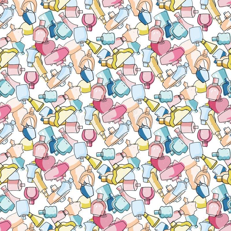 五颜六色的手拉的逗人喜爱的香水瓶无缝的传染媒介样式 库存例证