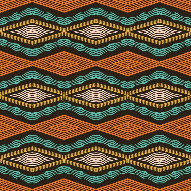 五颜六色的手拉的非洲人部族金刚石样式 无缝的传染媒介纺织品背景 手拉的水平的V形臂章样式波浪 向量例证
