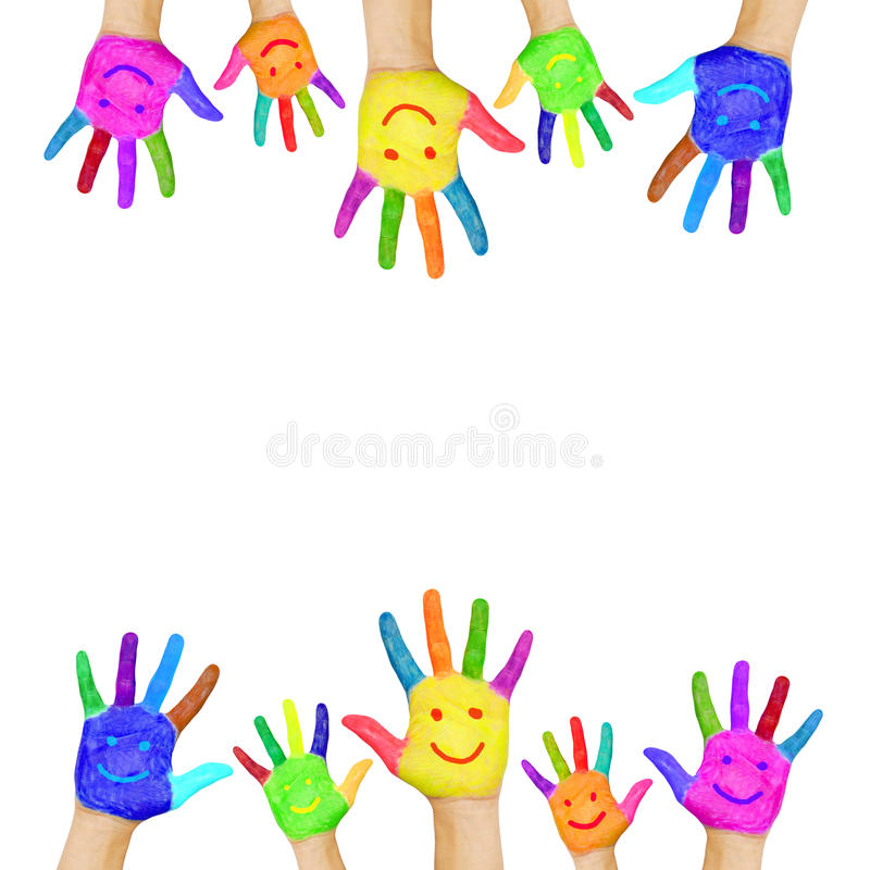 五颜六色的手框架绘与微笑的面孔。 皇族释放例证