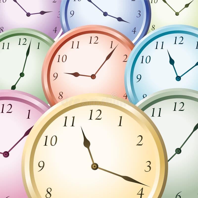 五颜六色的手表 库存例证