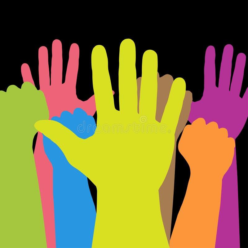 五颜六色的手 向量例证