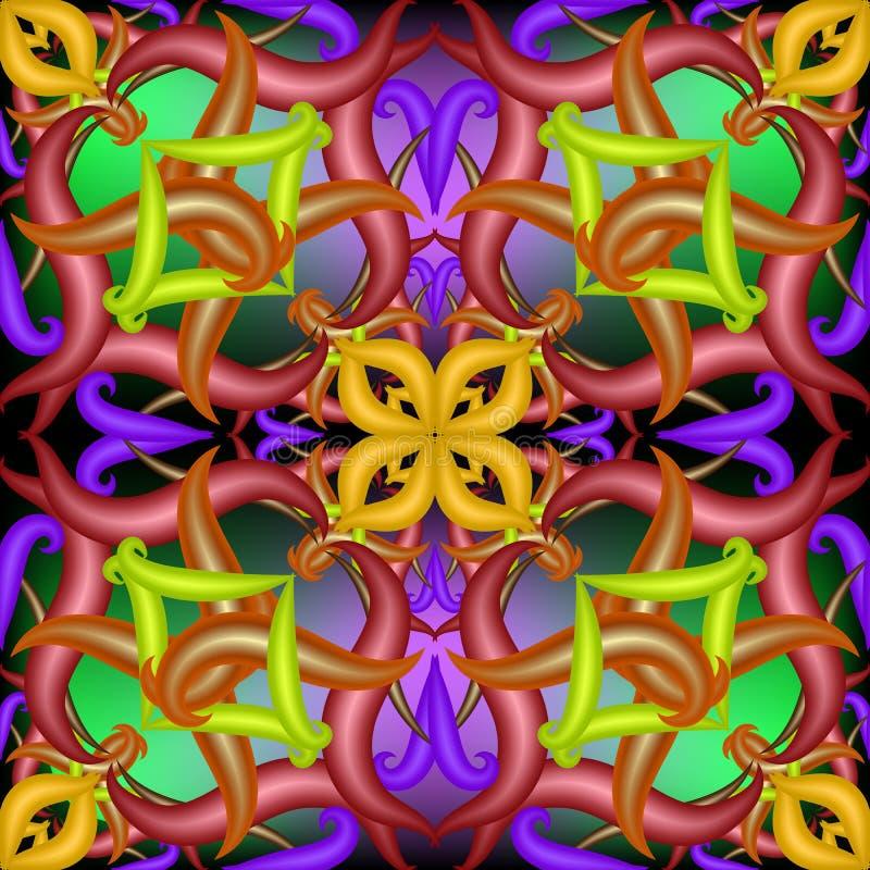 五颜六色的抽象传染媒介3d佩兹利无缝的样式 向量例证
