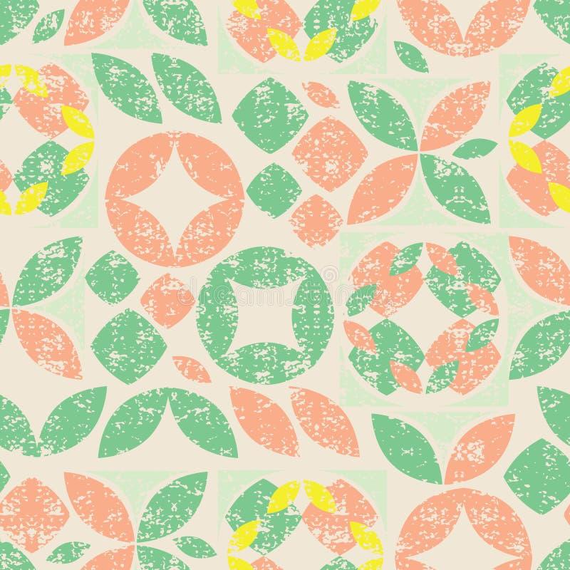 五颜六色的抽象几何形状的传染媒介米黄无缝的样式与难看的东西纹理的 适用于纺织品,缎带包装和 向量例证