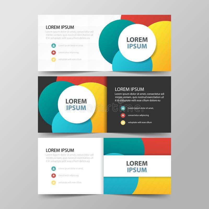 五颜六色的抽象圈子公司业务横幅模板,水平的广告业横幅布局模板 库存例证