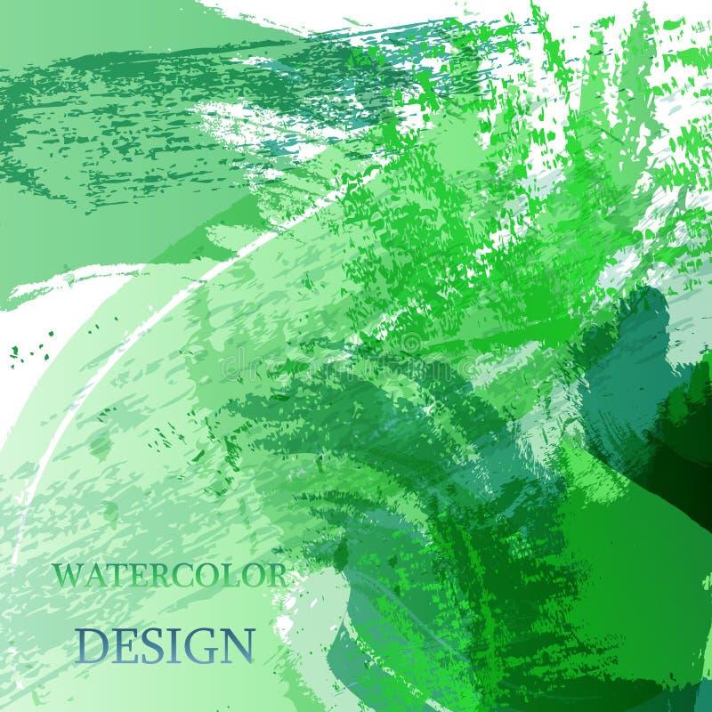 五颜六色的抽象水彩纹理污点与飞溅 时髦设计的现代创造性的水彩背景 向量例证