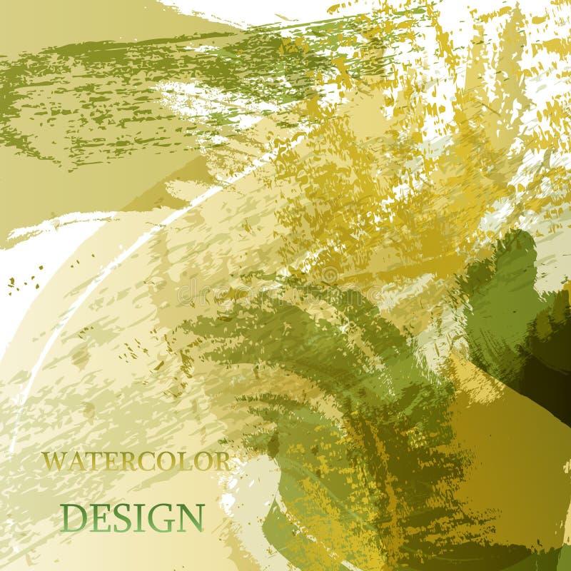 五颜六色的抽象水彩纹理污点与飞溅 时髦设计的现代创造性的水彩背景 库存例证