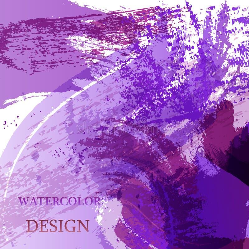 五颜六色的抽象水彩纹理污点与飞溅 时髦设计的现代创造性的水彩背景 皇族释放例证
