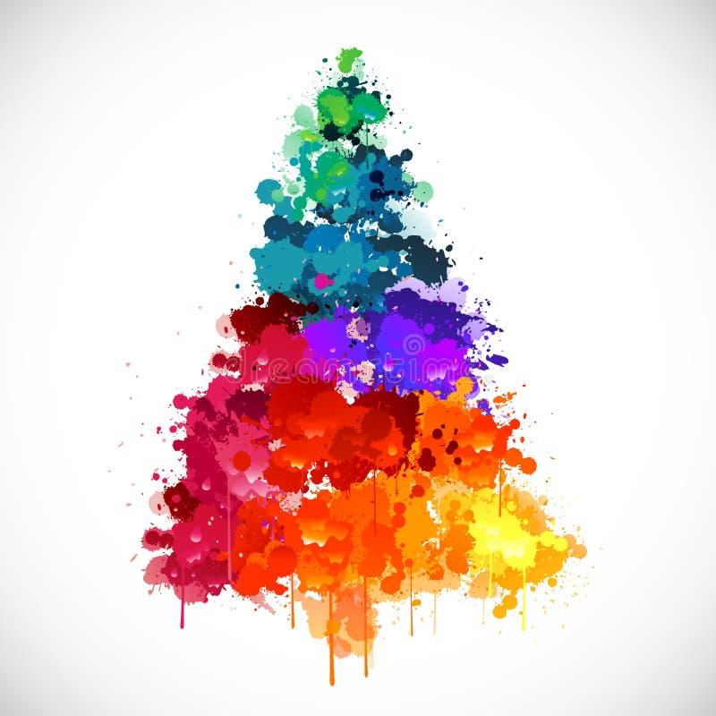 五颜六色的抽象油漆spash圣诞树 向量例证