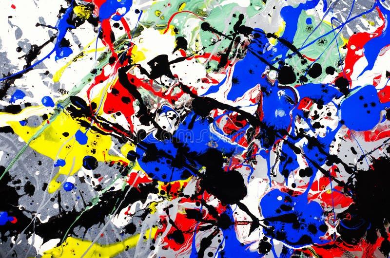 五颜六色的抽象派表示乐趣美好的构成艺术品设计与乐趣刷子冲程和点水彩墨水的 免版税库存照片