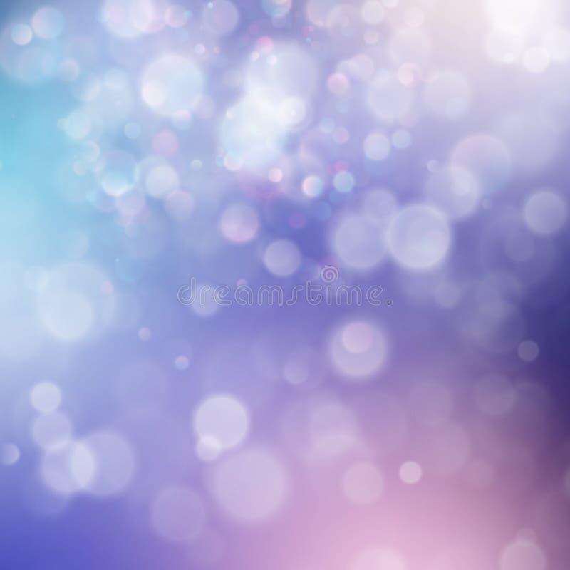 五颜六色的抽象生动的迷离bokeh圈子在软的颜色样式背景中 闪烁假日紫色蓝色桃红色模板 向量例证