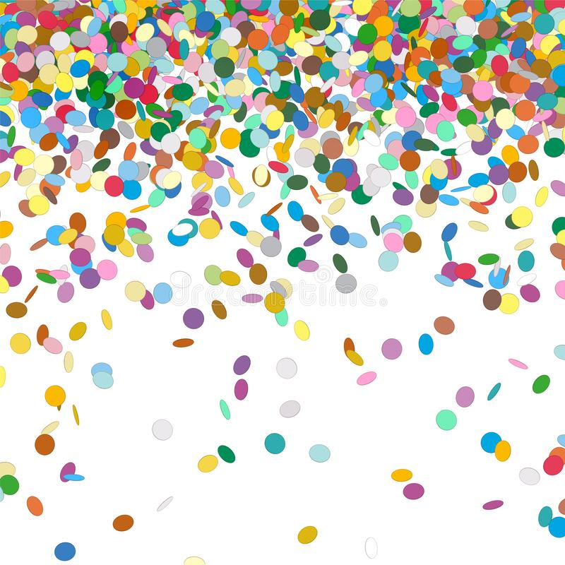 五颜六色的抽象落的五彩纸屑有白色背景 皇族释放例证
