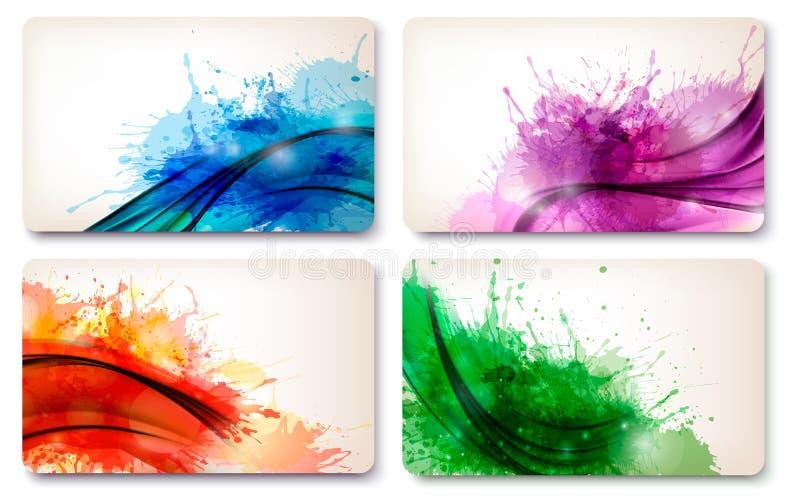 五颜六色的抽象水彩卡片的汇集。 库存例证