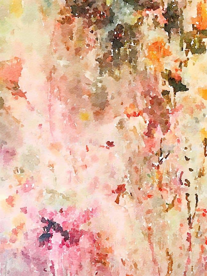 五颜六色的抽象水彩墙壁艺术 向量例证