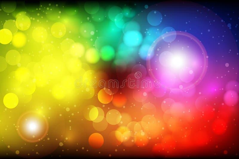 五颜六色的抽象Bokeh传染媒介背景 库存例证