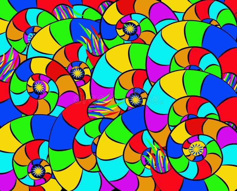 五颜六色的抽象snailsColorful抽象蜗牛 皇族释放例证