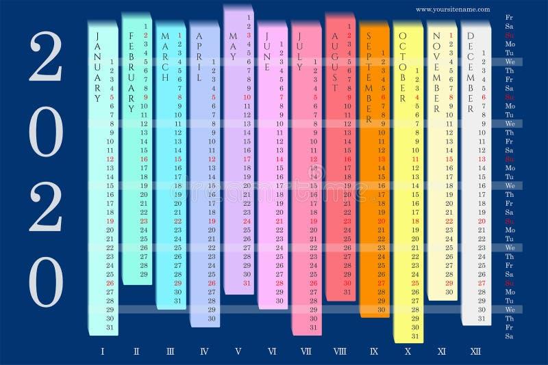 五颜六色的挂历2020年与垂直的月 库存例证