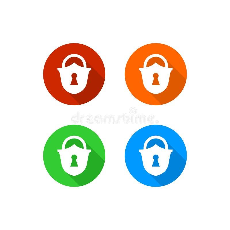 五颜六色的挂锁象 向量例证