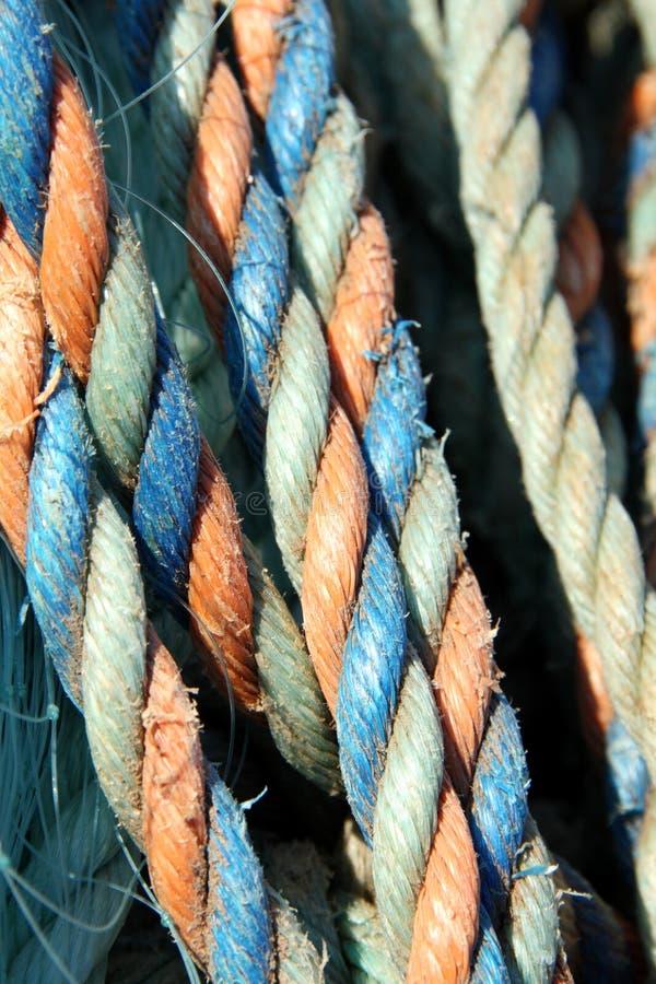 五颜六色的捕鱼绳索 免版税库存照片