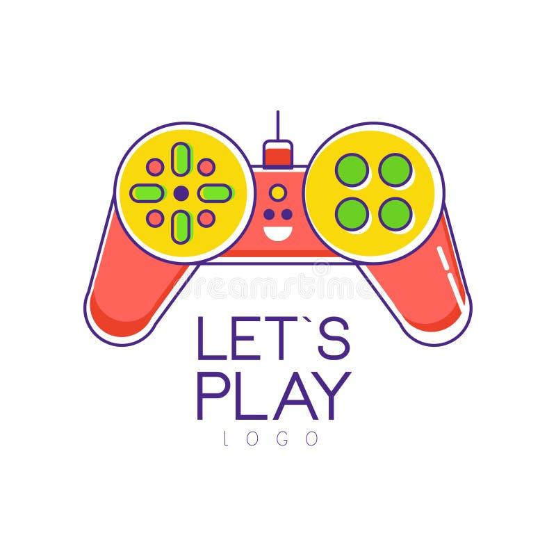 五颜六色的控制杆商标 Gamepad 比赛商店或开发商公司的创造性的传染媒介设计 概念招待查出的白色 向量例证