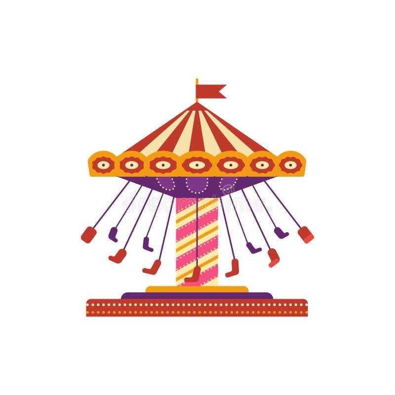 五颜六色的摇摆乘驾,在白色背景在平的样式的游乐园元素隔绝的 儿童s娱乐 皇族释放例证