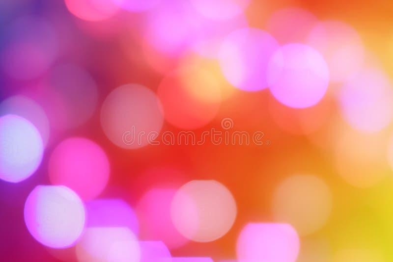 五颜六色的摘要弄脏了夜城市圆bokeh光  免版税库存图片