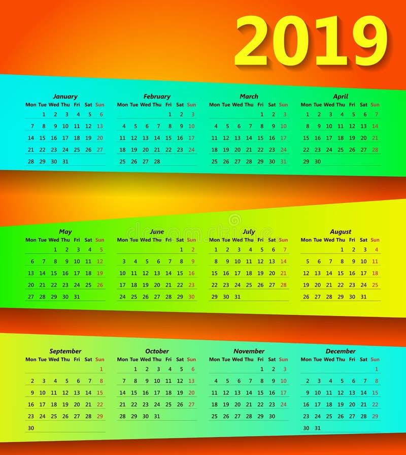 2019五颜六色的摘要日历现代最小的设计 向量例证