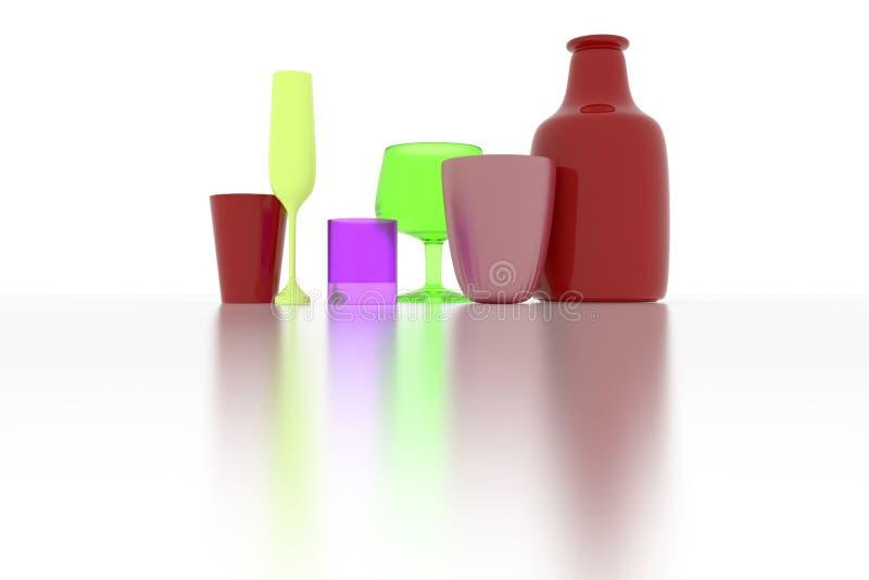 五颜六色的摘要CGI构成、concepture静物画瓶&玻璃 图形设计的墙纸 3d?? 皇族释放例证