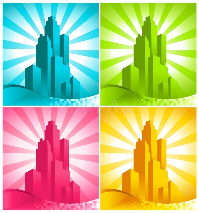 五颜六色的摩天大楼 向量例证