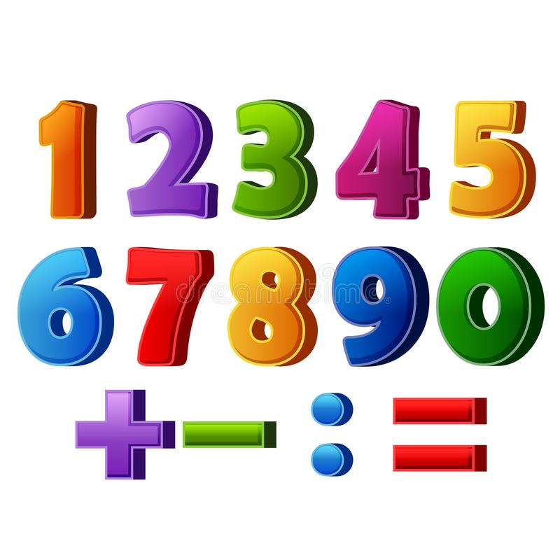 五颜六色的数字和数学运算 库存例证