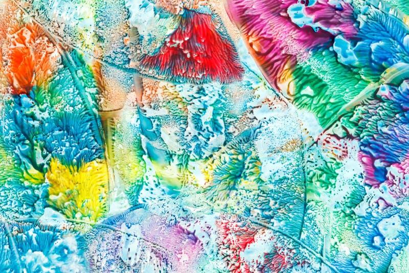 五颜六色的斑点创造性的手工制造被绘的抽象背景 库存照片