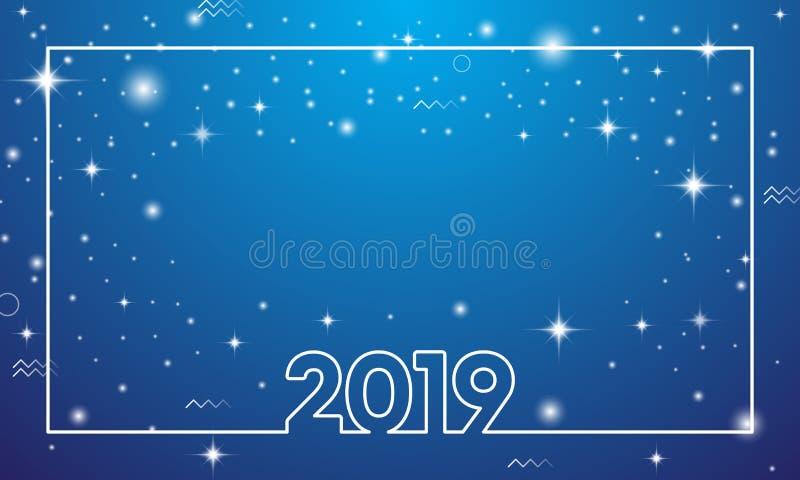五颜六色的新年快乐2019年 向量例证