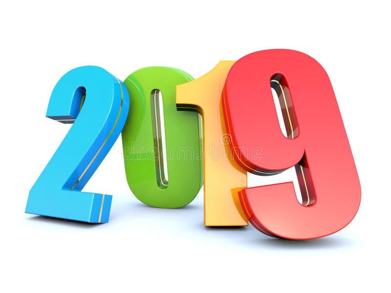 五颜六色的新年2019年 向量例证