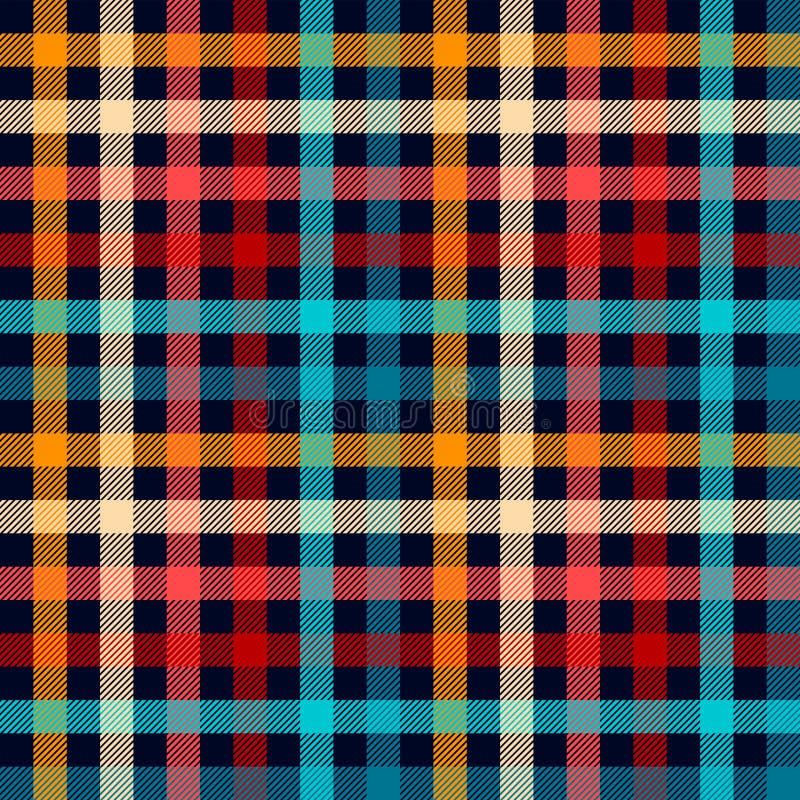 五颜六色的方格的在蓝色白色红色的方格花布格子花呢披肩织品无缝的样式和黄色,传染媒介印刷品 皇族释放例证