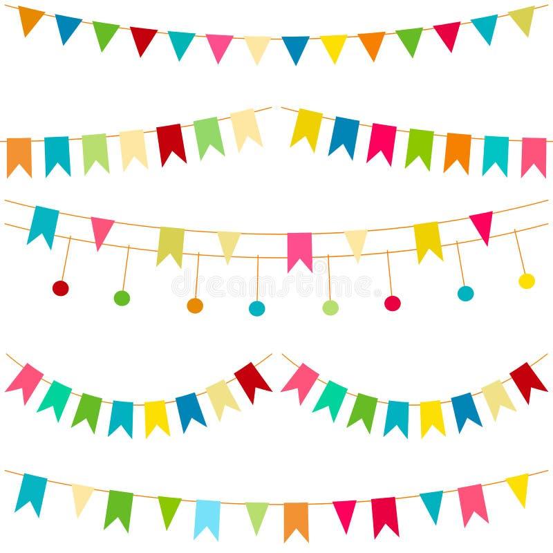 五颜六色的旗子,导航carnaval无缝的样式 哄骗与明亮的丝带的欢乐背景 生日,党宴餐装饰 库存例证
