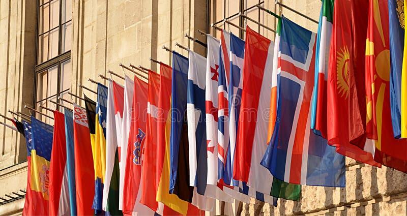 五颜六色的旗子stat 免版税库存照片
