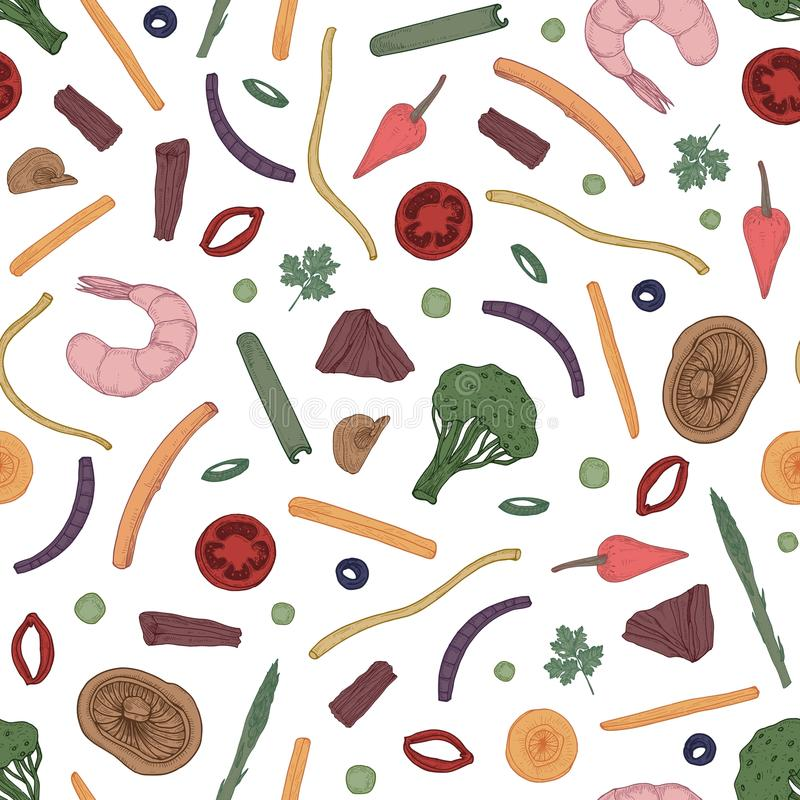五颜六色的无缝的样式用切的食物 与成份的背景在黑背景的亚洲铁锅饭食的 典雅 皇族释放例证